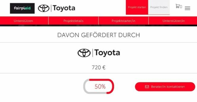 Wir haben die Hälfte geschafft!🥳 Heute haben wir endlich die 50%-Marke bei unserer Crowdfundingaktion erreicht. Aber das reicht noch nicht! Denn nur, wenn wir innerhalb der nächsten 6 Tage die gesamte Summe sammeln, wird das Geld auch ausgeschüttet.  Deshalb sind wir auf jeden einzelnen Euro angewiesen, bei Spenden ab 10€ bekommen wir noch einen Bonus von Toyota obendrauf🤩 Doch nur gemeinsam kommen wir ans Ziel!  Vielen Dank🙏🏻  Den Link zur Aktion findet ihr in unserer Insta-Bio und auf der Webseite! #fairplaidcrowdfunding #crowdfunding #spendenaktion #fctbb #jedereurozählt #restart